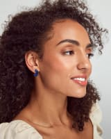 Mikki Gold Huggie Earrings in Cobalt Howlite