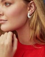 Mikki Silver Huggie Earrings in White Howlite