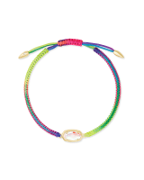 Grayson Multicolor Cord Friendship Bracelet in Dichroic Glass