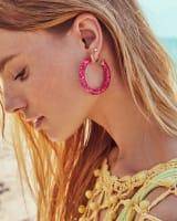Sonnie Sterling Silver Hoop Earrings in Deep Blush Quartz