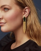 Deanna Vintage Gold Drop Earrings in Golden Obsidian