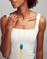 Deanna Gold Long Pendant Necklace in Cobalt Howlite