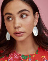 Faceted Danielle Gold Statement Earrings in Ivory Mother-of-Pearl