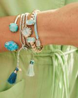Cynthia Gold Cuff Bracelet in Blue Mix