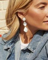 Nina Clip On Silver Linear Earrings in White Mix