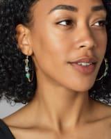 Ivy Gold Hoop Earrings in Sea Green Mix