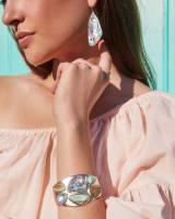 Margot Gold Statement Cuff Bracelet in Sea Green Mix