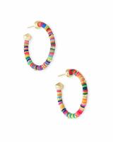 Reece Gold Small Hoop Earrings in Neon Mix