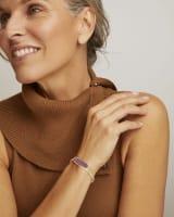 Layla Gold Cuff Bracelet in Pink Rainbow Calsilica