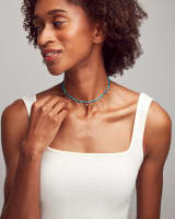 Reece Gold Choker Necklace in Sea Green Mix
