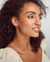 Reece Bright Silver Huggie Earrings in Neutral Mix