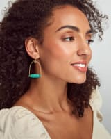 Sassy Gold Statement Earrings in Bronze Veined Teal Magnesite