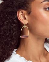 Sassy Gold Statement Earrings in Pink Rainbow Calsilica