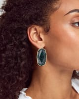 Faceted Danielle Gold Statement Earrings in Green Apatite