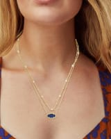 Elisa Gold Multi Strand Necklace in Indigo Blue Drusy