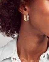 Jack Gold Hoop Earrings in Multi Crystal