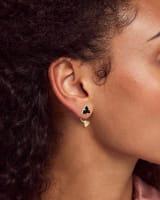 Perry Gold Ear Jacket Earrings in Black Drusy