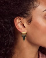 Vivian Vintage Gold Drop Earrings in Golden Obsidian