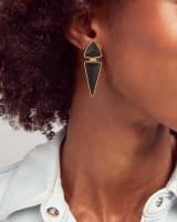 Vivian Vintage Gold Statement Earrings in Golden Obsidian