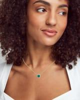 Davie Gold Pendant Necklace in Dark Teal Amazonite