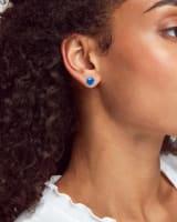 Davie Silver Stud Earrings in Royal Blue Kyocera Opal