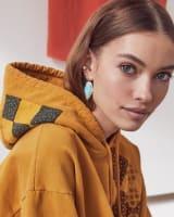 Tessa Gold Drop Earrings in Light Blue Magnesite