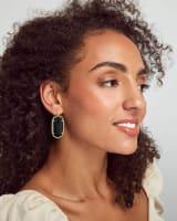 Beaded Danielle Gold Drop Earrings in Black Obsidian