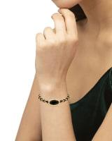 Elaina Braided Gold Friendship Bracelet in Black Obsidian