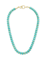 Rebecca Gold Choker Necklace in Variegated Turquoise Magnesite