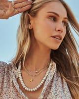 Rebecca Gold Choker Necklace in White Howlite
