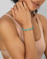 Rebecca Gold Stretch Bracelet in Variegated Turquoise Magnesite