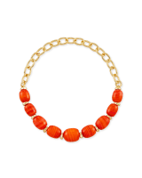 Demi Gold Stretch Bracelet In Papaya Mother Of Pearl