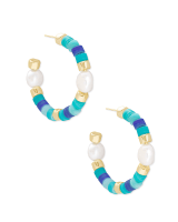 Rachel Gold Hoop Earrings In Blue Mix