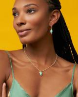 Demi Gold Huggie Earrings Set In Light Blue Magnesite