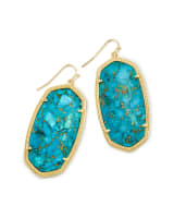 Danielle Statement Earrings in Bronze Veined Turquoise Magnesite