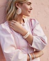 Kai Bright Silver Hoop Earrings in Iridescent Acetate