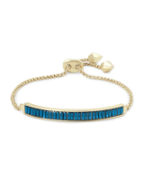 Jack Adjustable Gold Chain Bracelet in Peacock Blue Crystal