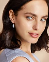 Lemmi Rose Gold Drop Earrings in Dichroic Glass