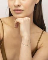 Davis 18k Gold Vermeil Delicate Beaded Bracelet in Black Spinel