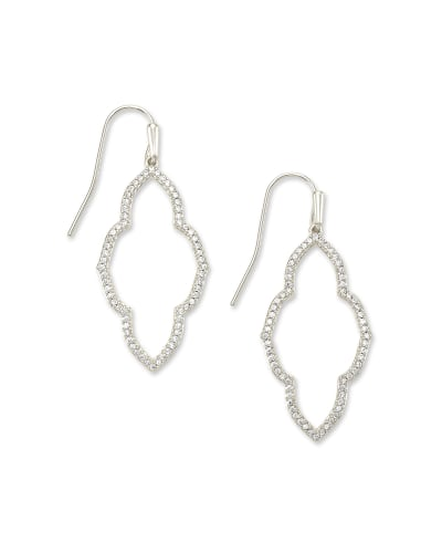 Abbie Small Open Frame Earrings in White Crystal