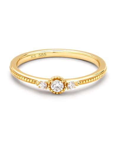 Victoria Band Ring in White Diamond