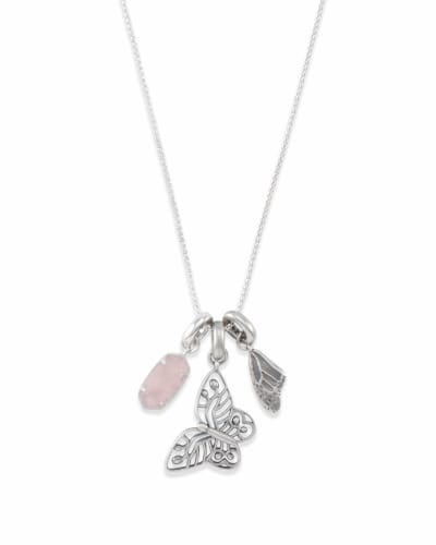 Metastatic Breast Cancer Necklace Charm Set in Silver