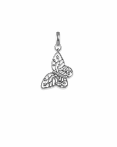 Breast Cancer Butterfly Charm in Vintage Silver