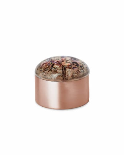 Mini Decorative Rose Gold Dome Box in Abalone Shell