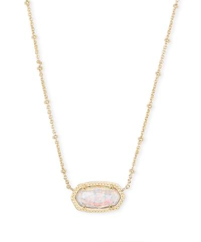 Elisa Gold Satellite Pendant Necklace in White Kyocera Opal Illusion