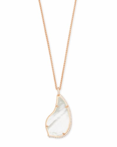 Theodora Rose Gold Long Pendant Necklace in Ivory Pearl