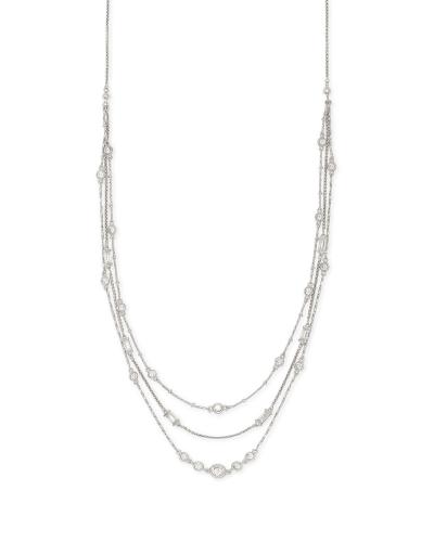 Rina Silver Multi Strand Necklace in Lustre Glass