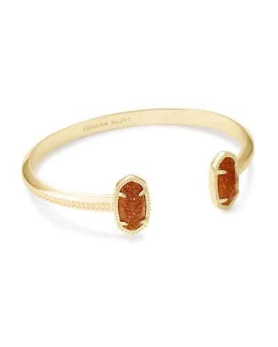 Elton Gold Cuff Bracelet in Goldstone Glass