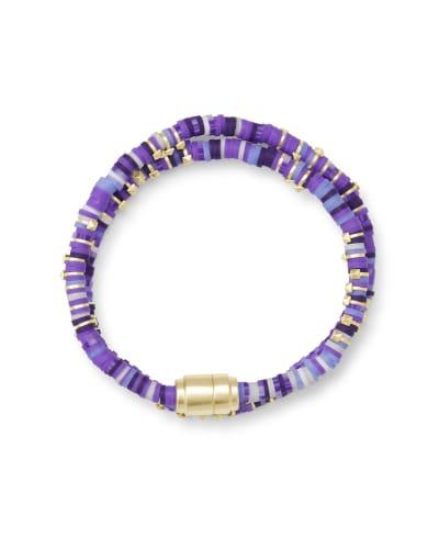 Reece Gold Wrap Bracelet in Purple Mix