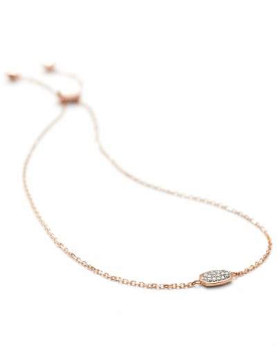 Millicent Adjustable Bracelet in White Diamond and 14k Rose Gold